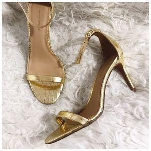 Banana Republic Gold Bare High Heel Sandal, size 7